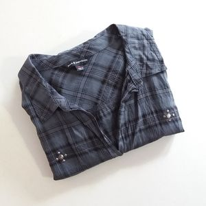 Rock & Republic Plaid Studded Button Front Top